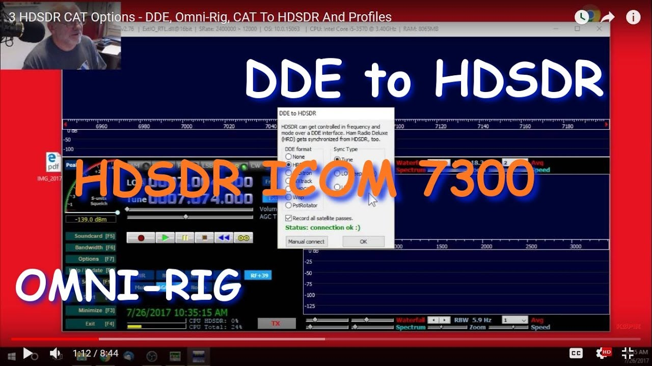 3 HDSDR CAT Options - DDE, Omni-Rig, CAT To HDSDR And Profiles