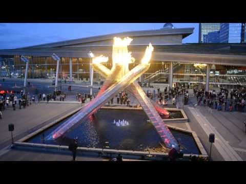 Vancouver Olympic Cauldron After Canada Wins Gold in Sochi