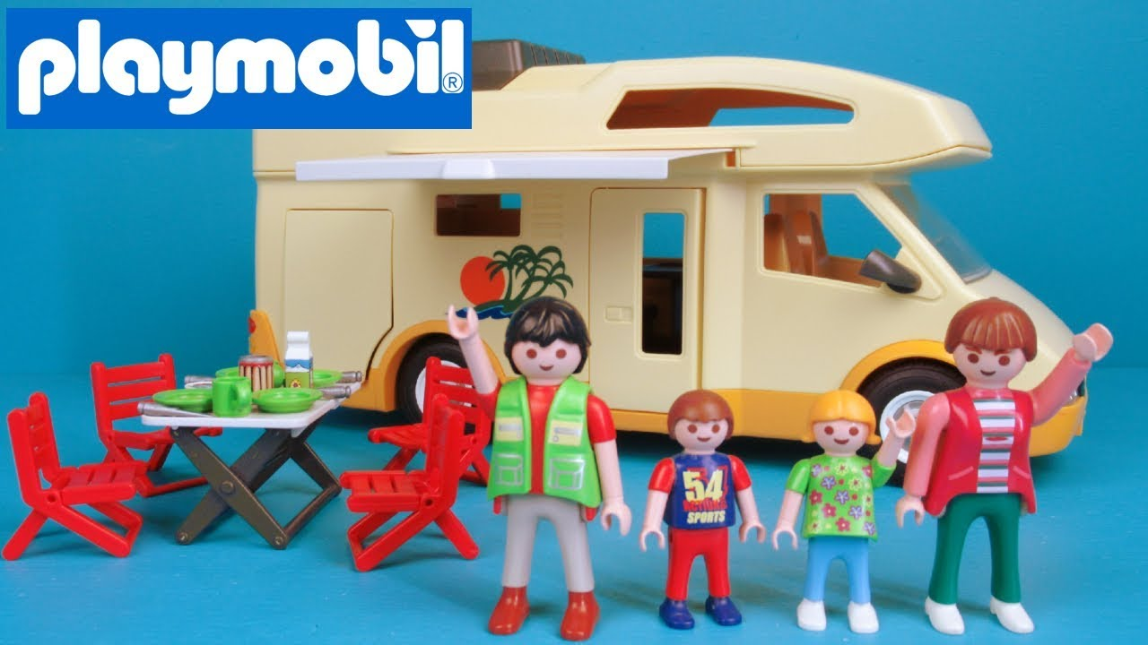 playmobil vacation camper rv with awning beds 3647 toy review