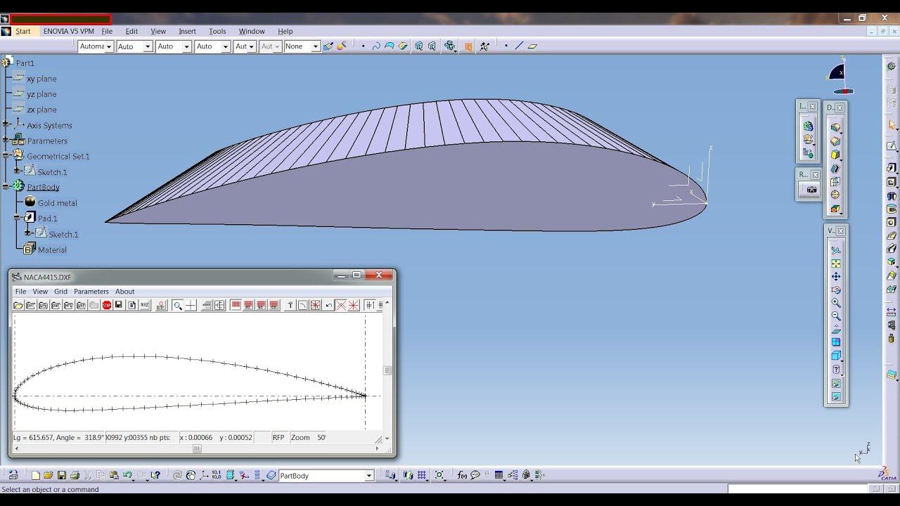 Blueprint Software Catia Aurospace Naca Airfoil Or Aircraft Wing Create
