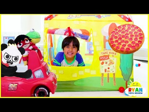 Ryan Drive Thru Pretend Play with Pizza + Power Wheels Ride On Car!!!