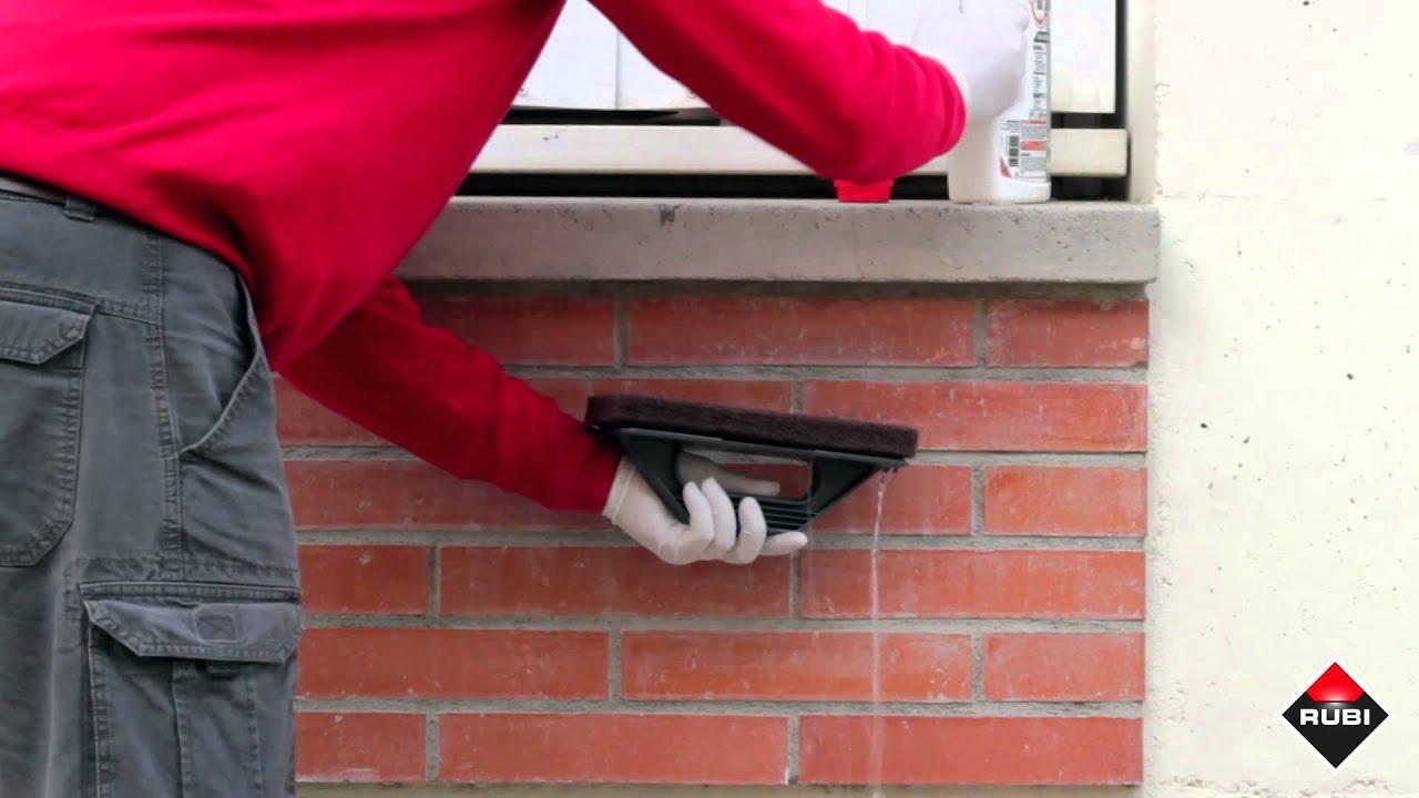 Como limpiar manchas y restos de cemento rubi rc 10 - Como colocar ladrillos en una pared ...