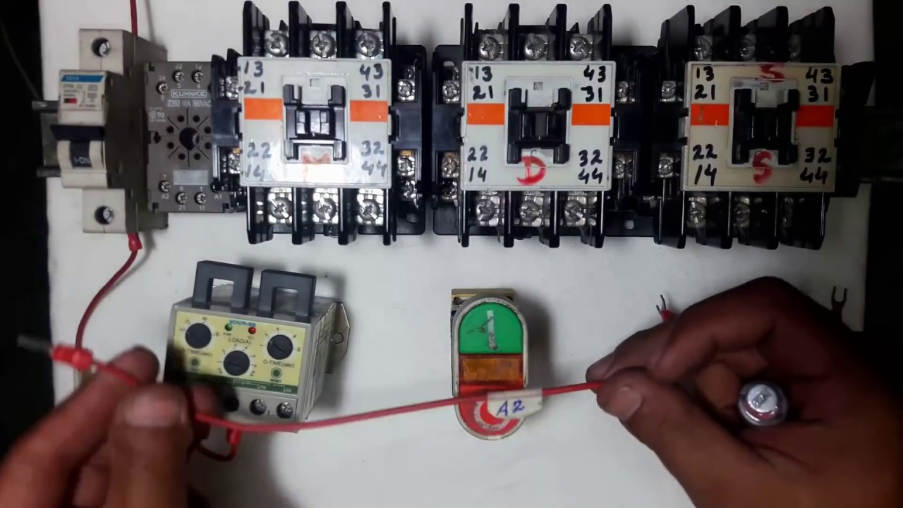 Star delta starter timer off power and wiring control circuit with practical in Urdu  YouTube