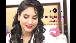 HD makeup || light party makeup || golden eye makeup || how to do makeup