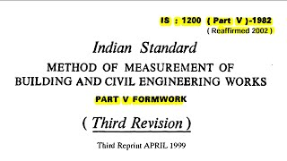 IS 1200 Part 5 - Mode of Measurement of Formwork / Shuttering