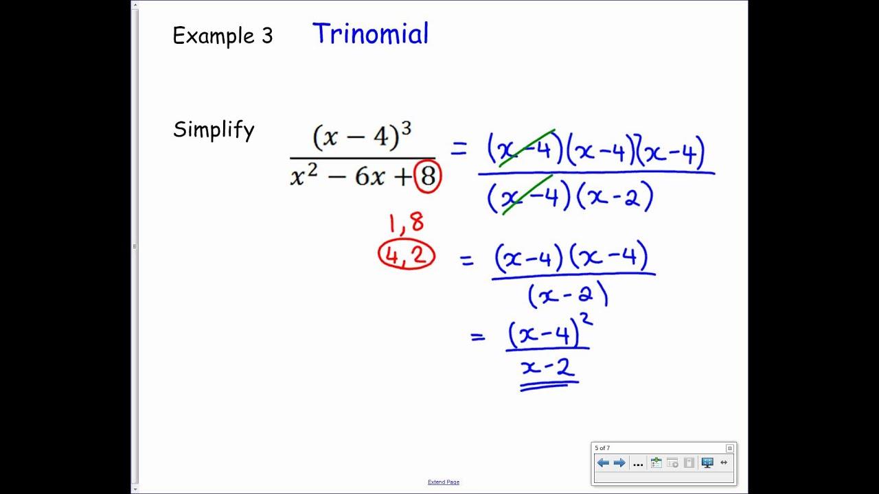 National 5  Algebraic Fractions 3  Simplify By Factorising