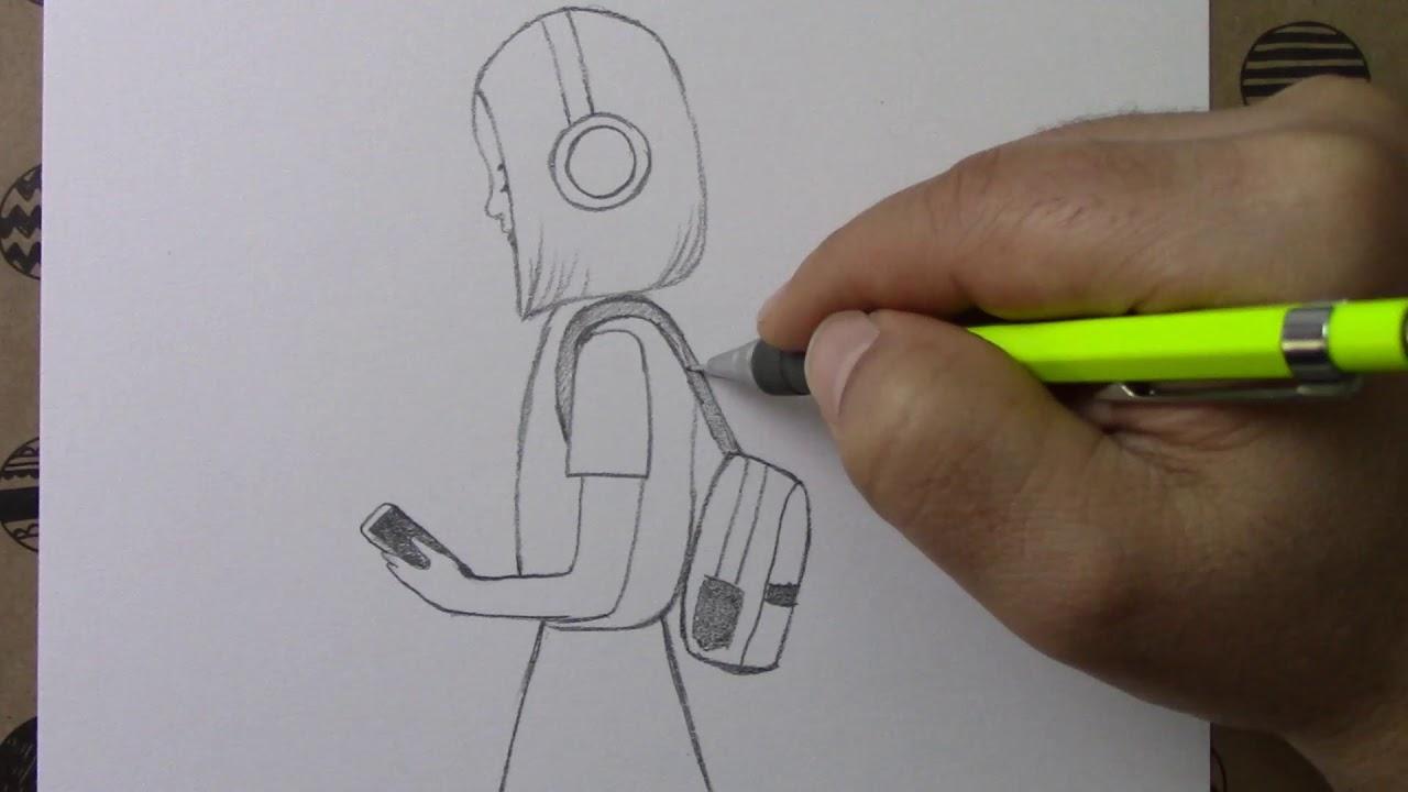 Telefondan müzik dinleyen kız çizimi - Illustration of a girl listening to music on the phone