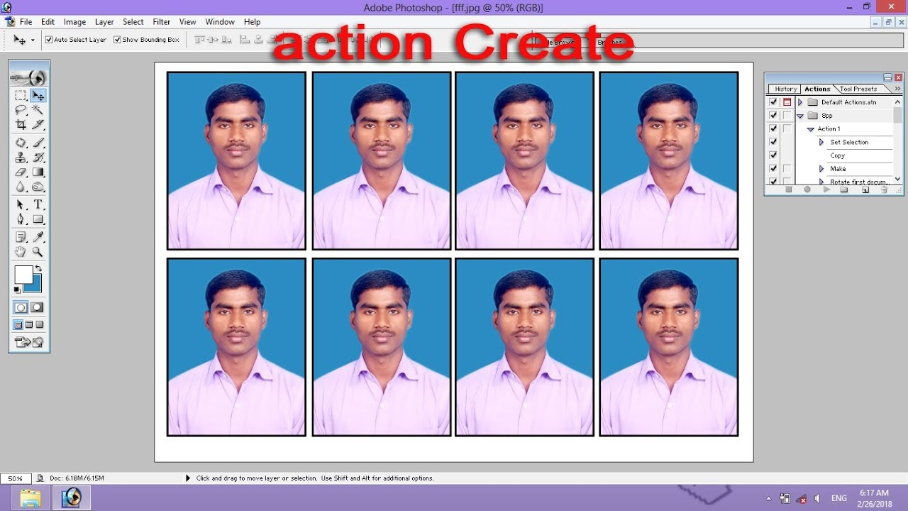 Photoshop tutorial in Hindi – Create Action Passport Size Photo Step by Step Process