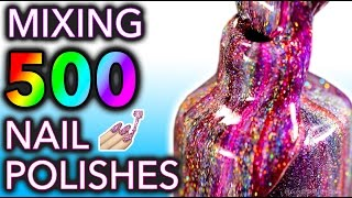 Mixing my 500 HOLO Nail Polishes Together! What Will Happen?! thumbnail