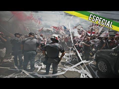 Torcida do São Paulo escolta ônibus do time até Pacaembu contra o Santos (29.10.17)