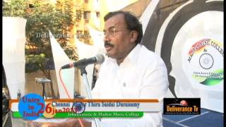 MADRAS MUSIC COLLEGE- UNITY IN INDIA - CHENNAI MAYOR THIRU SAIDAI DURAISAMY TALKS ABOUT JOHN LEE