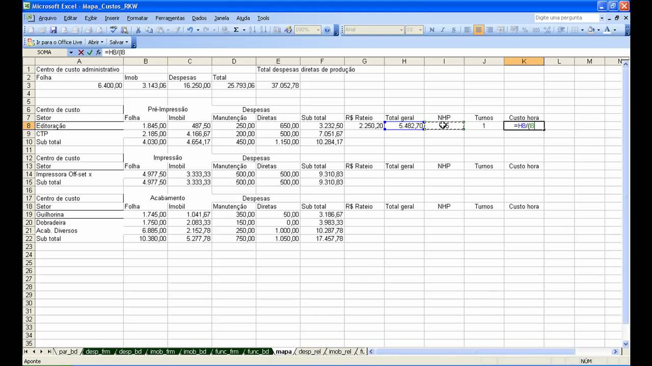 mapa de rateio Mapa de custos para a Ind. Gráfica em Excel   Método RKW   Mapa de  mapa de rateio