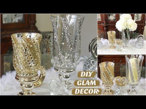 DIY DOLLAR STORE GLAM CANDLE HOLDER & VASE  DIY HOME DECOR IDEAS