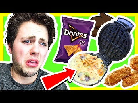 Waffling GROSS Foods!! (WAFFLE CHALLENGE) | Cooking With Corl