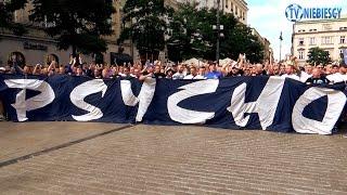 Przemarsz kibiców Ruchu z rynku w Krakowie (14.08.2016 r.)