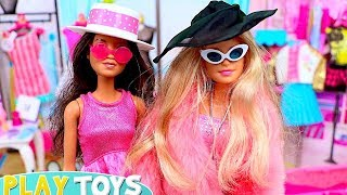 Barbie Girl and Friends Shopping for New Doll Clothes, Dresses and Hats!