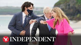 G7: Justin Trudeau puts on mask to greet Boris and Carrie Johnson
