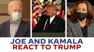 Joe biden and kamala harris react to some of president trump's moments on the trail clear up things he's been saying. words a presiden...