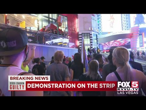 Small demonstration held on Las Vegas Strip following Chauvin conviction