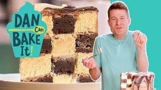 Dan Bakes a Brownie-Cheesecake Checkerboard Cake 🏁Challenge #7