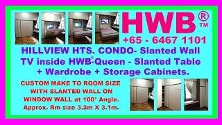 hillview hts condo tv insidehwb queen slanted table wardrobe storagehdb bto ec wallbed hiddenbed