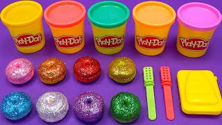 Making 2 Ice Cream out of 8 Colors Glitter Play Doh | Learn Colors,LOL,Donuts,Surprise Toys