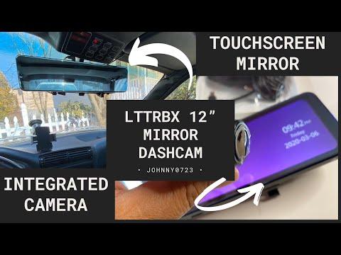 "Lttrbx12"" Rear View Mirror With Integrated HD Dashcam, Color Touchscreen Display, Bonus Rear Camera"