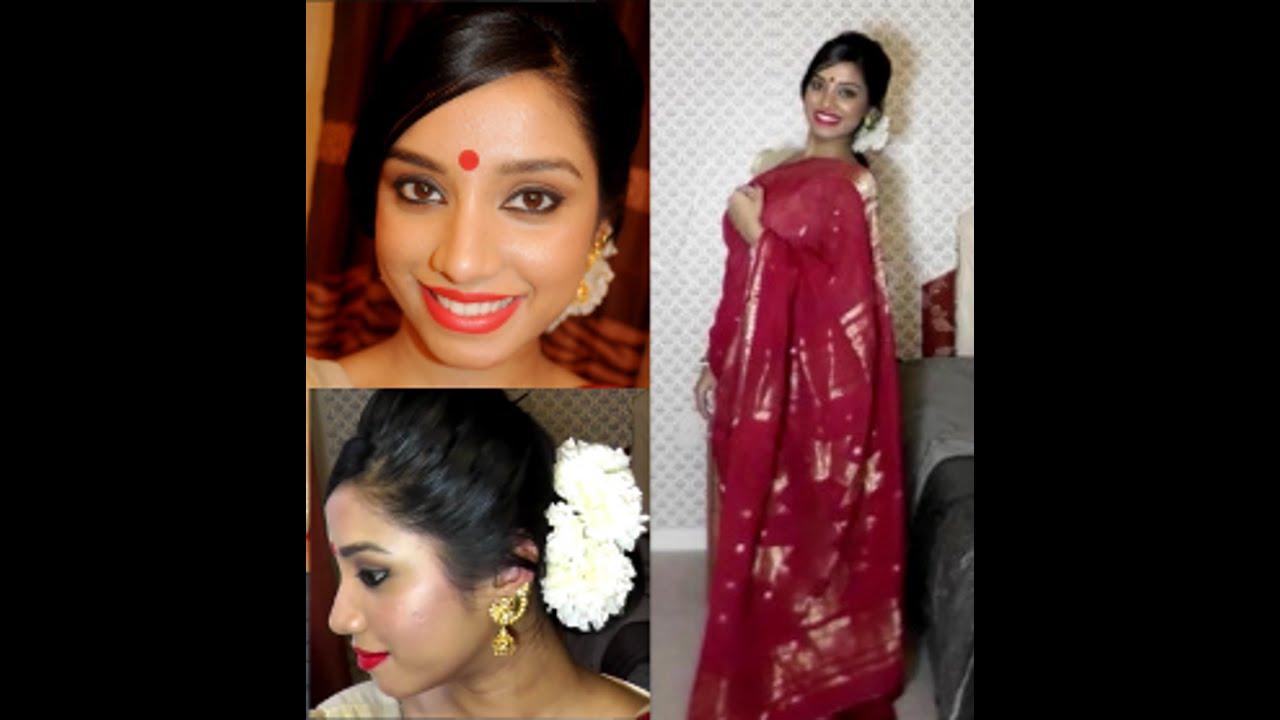 Pure Bengali Makeup And Hair Tutorial OOTD