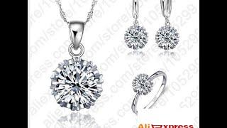 Роскошные свадебные 925 серебряных ювелирных изделий AliExpress, 3,99 $
