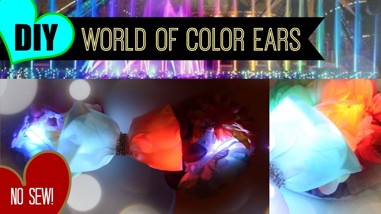 Diy No Sew Floral Light Up World Of Color Minnie Ears Youtube