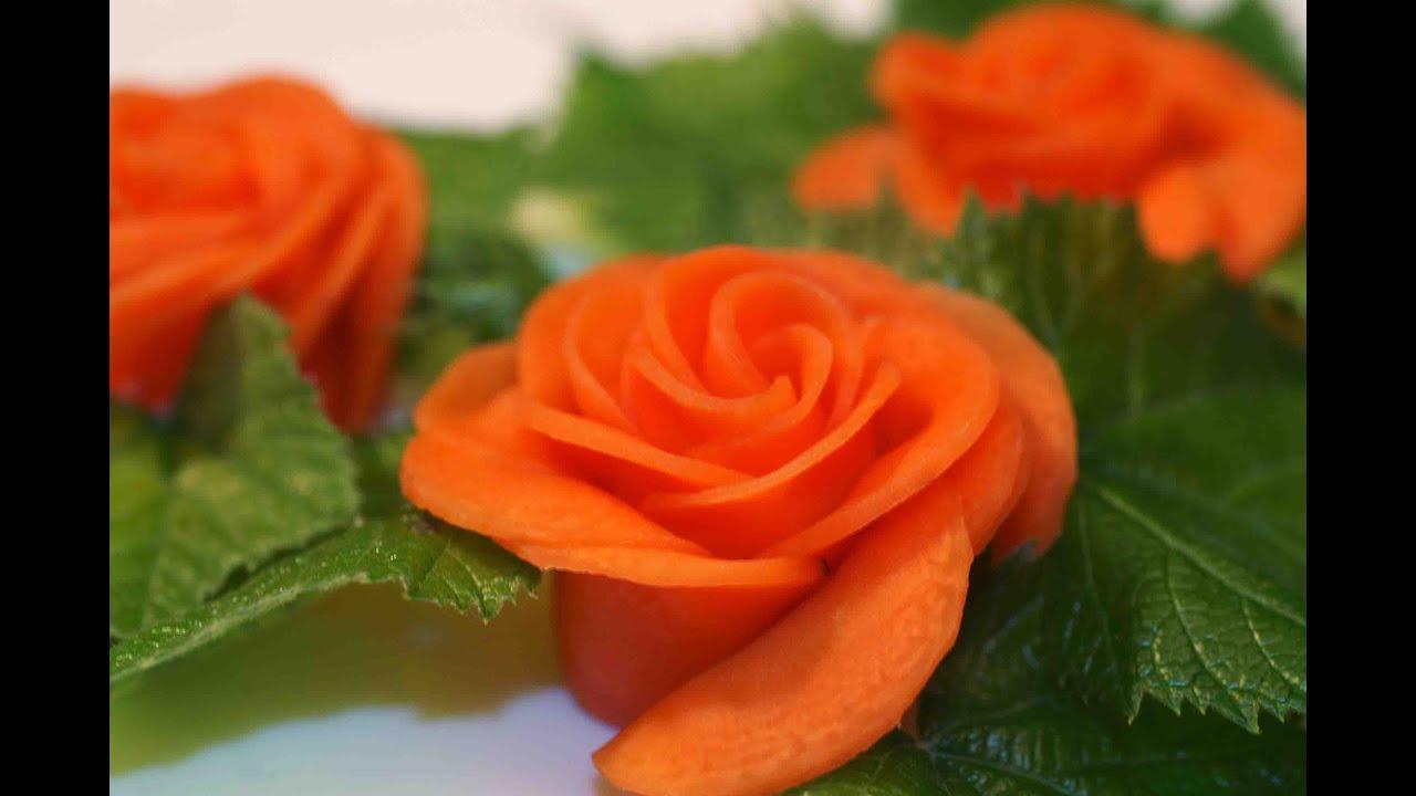 Украшение блюд. Роза из моркови. Украшение из овощей ...