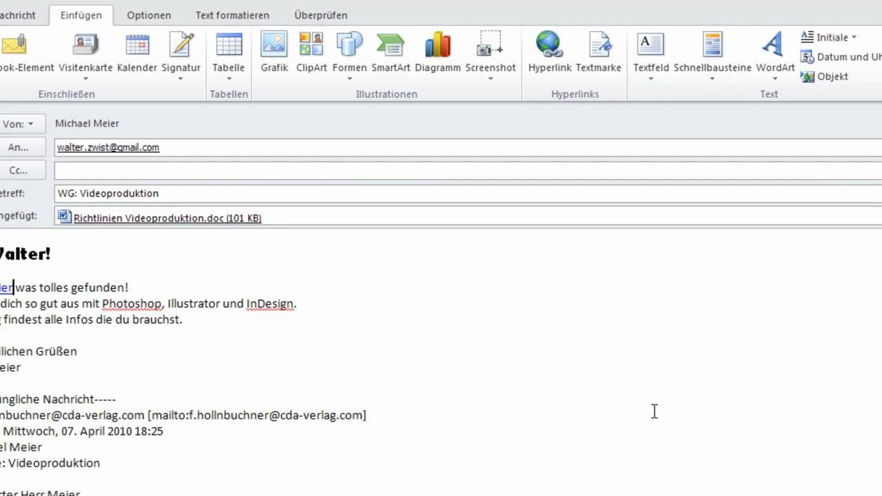 Outlook 2010 Teil 2 Mails Empfangen Versenden Und Archivieren