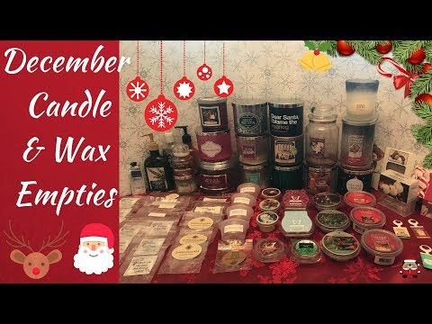 Holiday Candle & Wax Empties|December 2017|Bath & Body Works, Yankee, Super Tarts...