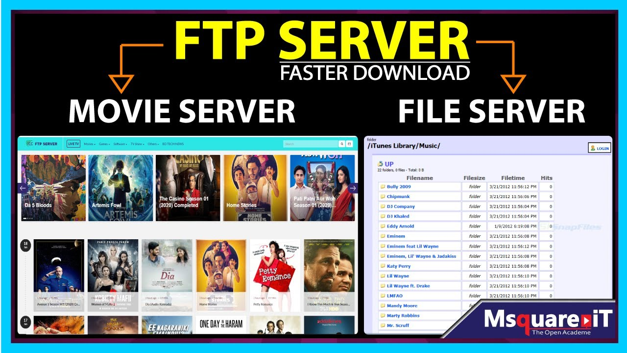 How to create ISP Movie Server | ftp File Server | Win 10, 8 1, 7, Xp and  MAC | Msquare it