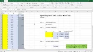 Excel - Epsilon squared for Kruskal-Wallis test (long)