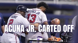 Ronald Acuña Jr. Leaves Game With Knee Injury After Awkward Outfield Play
