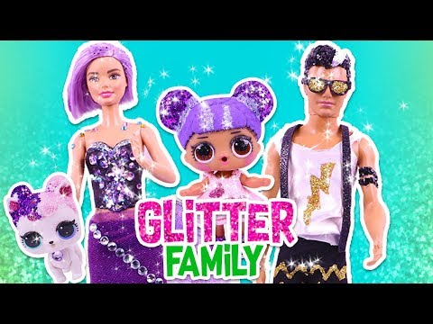 ✨ GLITTER FAMILY & PETS with BARBIE, KEN & LOL DOLLS ✨ Toy Transformations