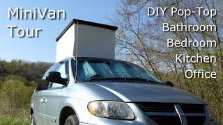 Full Van Tour - Amazingly Large and Roomy Minivan Camper van with a DIY PopTop.