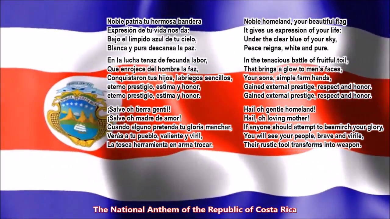 Costa Rica National Anthem With Music