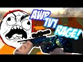 CS:GO AWP 1v1 Rage Wall Hacks Troll! (Extreme Freakout)
