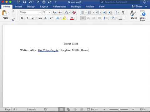 MLA Format Works Cited Page Book Entry