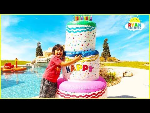 Ryan Pretend Play Giant Happy Birthday Cakes Toys!
