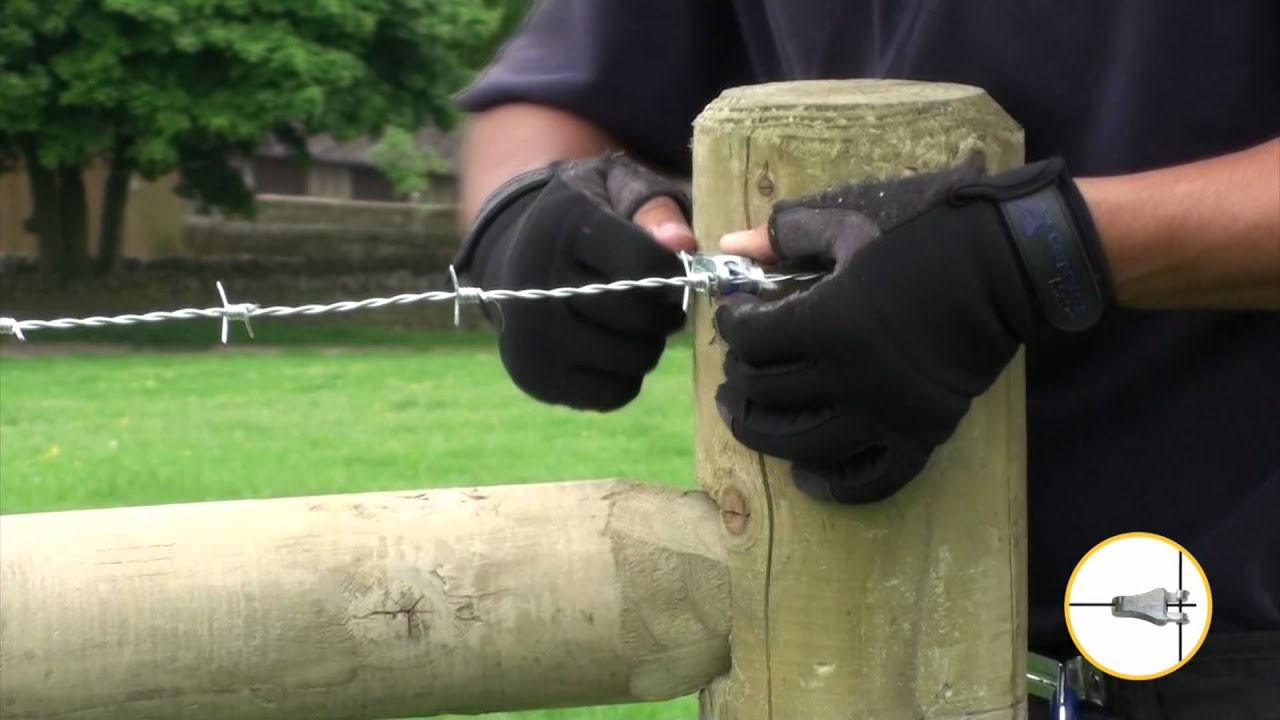 Securing Barbed Wire At An End Post Gripple T Clip 2