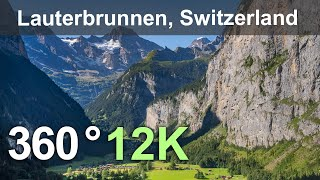 Lauterbrunnen. The valley of waterfalls and mountain peaks. Switzerland. Aerial 360 video in 12K