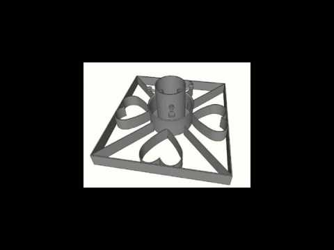 Round metal christmas tree stand in black with star decoration