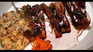 Свиные ребра с американским картофельным салатом