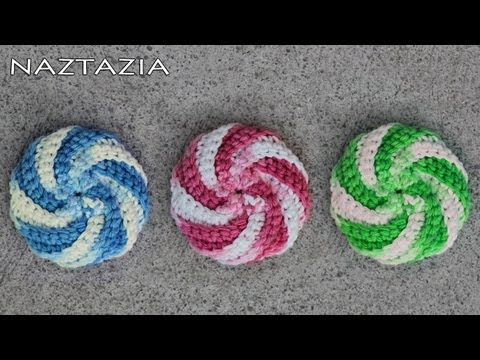 Learn How To Crochet Spiral Scrubbie Tutorial Dishcloth Washcloth