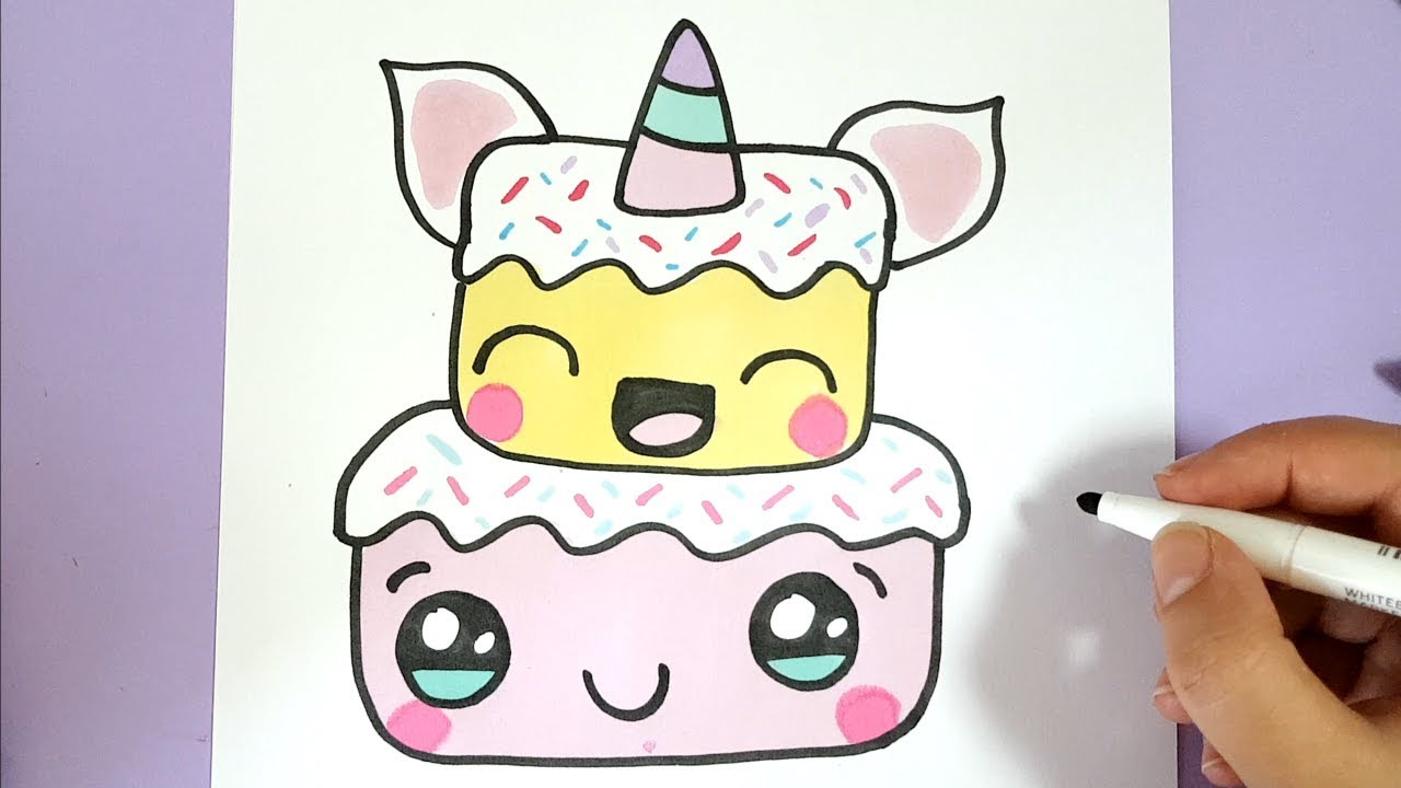 HOW TO DRAW A CUTE UNICORN CAKE STEP BY STEP