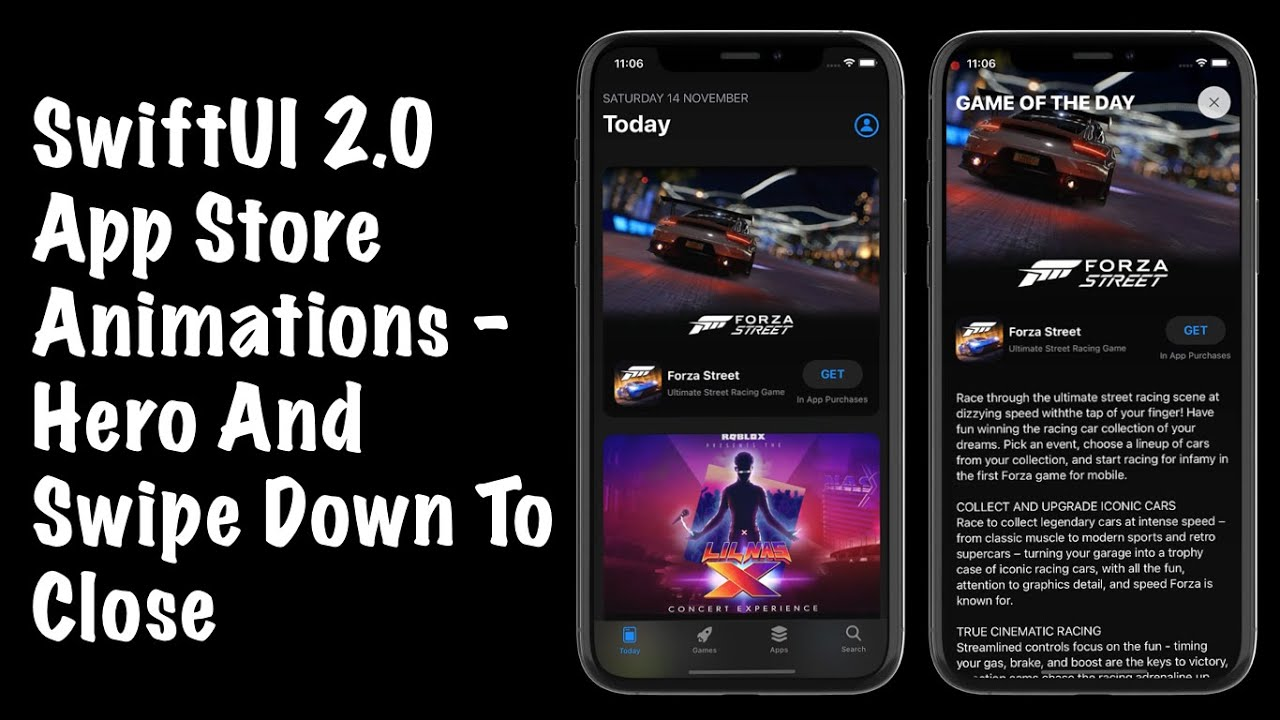 SwiftUI 2.0 App Store Animations - Hero And Swipe Down To Close Animations