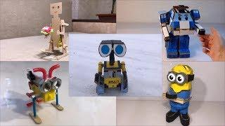 Five cardboard robots